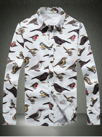 Unique Colorful Birds Printed Plus Size Turn-Down Collar Long Sleeve Shirt