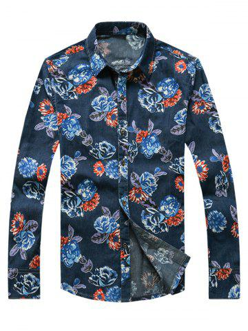 Latest 3D Flower Printed Plus Size Turn-Down Collar Long Sleeve Denim Shirt DENIM BLUE 3XL