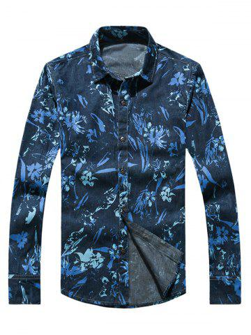 Outfit Flower Print Plus Size Long Sleeve Jean Shirt BLUE 5XL