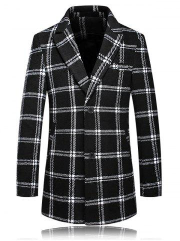 Outfits Checked Plus Size Turn-Down Collar Long Sleeve Single-Breasted Coat WHITE AND BLACK 5XL