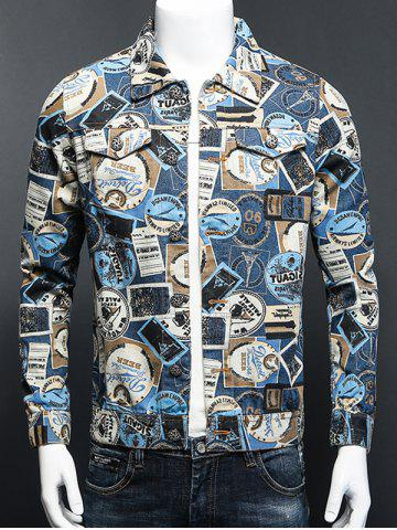 Outfits Stamp Print Plus Size Turn-Down Collar Long Sleeve Denim Jacket COLORMIX 5XL