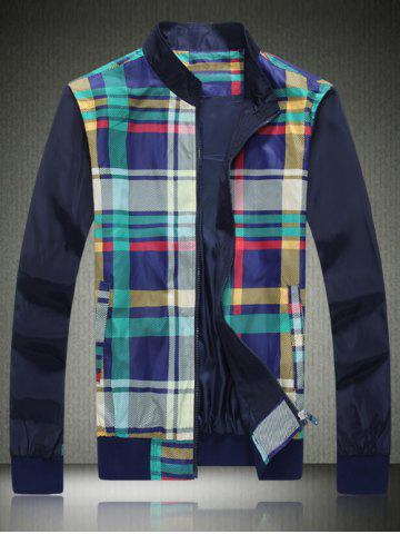 Unique Stand Collar Zipper Up Spliced Checked Jacket