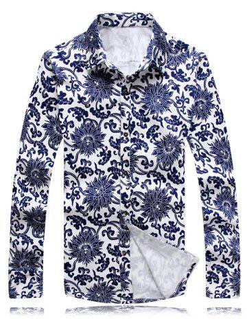 Discount Chinoiserie Flowers Printed Turn-Down Collar Long Sleeve Shirt