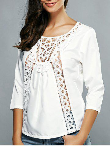 Buy 3/4 Sleeves Guipure Cut Out Blouse