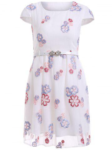 Best Embroidery A Line Belted Dress