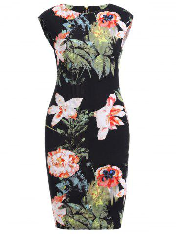 Chic Floral Print Fitted Dress