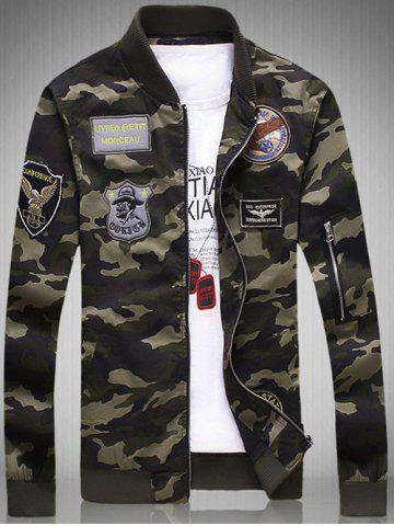 Sale Plus Size Rib Spliced Stand Collar Long Sleeve Appliques Camouflage Jacket