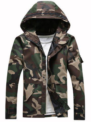 Unique Hooded Long Sleeve Loose-Fitting Camouflage Jacket