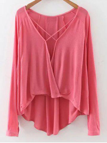 Affordable Long Sleeve High Low Surplice T-Shirt