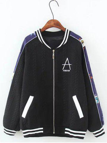 Discount Textured Raglan Sleeves Letter Jacket