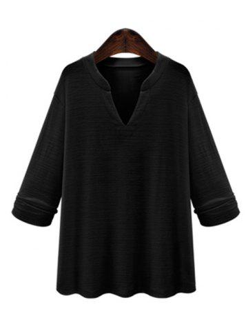 Unique Plus Size V Neck Loose Blouse BLACK 5XL