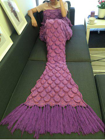 High Quality Fish Scale Knitting Tassel Sofa Blanket - Rose Red