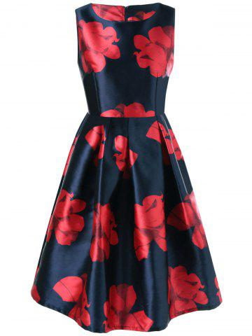 Chic Floral Fit and Flare Vintage Dress PURPLISH BLUE M