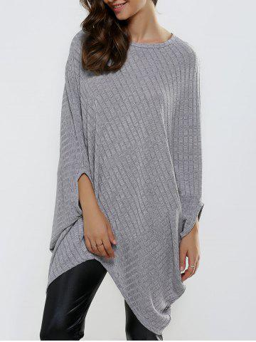 Batwing Sleeve Ribbed Asymmetrical Loose-Fitting Knitwear - LIGHT GRAY ONE SIZE