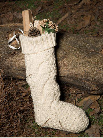 Casual Flanging Hemp Flowers Knitted Christmas Supplies Decorative Sock - White