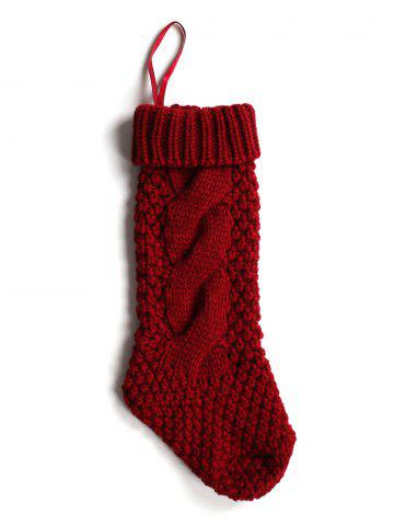 Fancy Casual Flanging Hemp Flowers Knitted Christmas Supplies Decorative Sock - WINE RED  Mobile