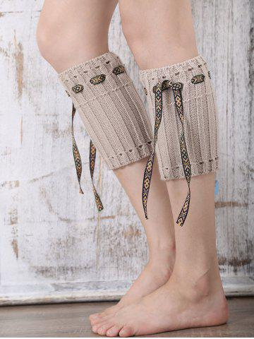 Fashion Casual Ethnic Lace-Up Reeved Knitted Boot Cuffs KHAKI
