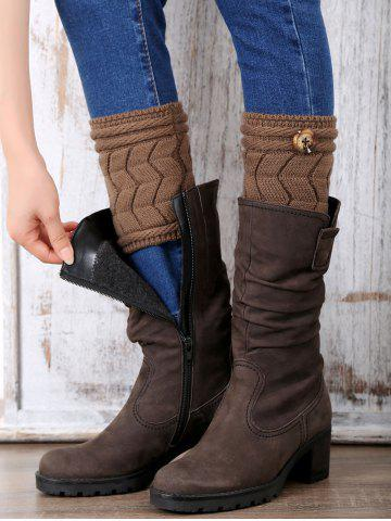 Fancy Casual Button Letter W Shape Knitted Boot Cuffs