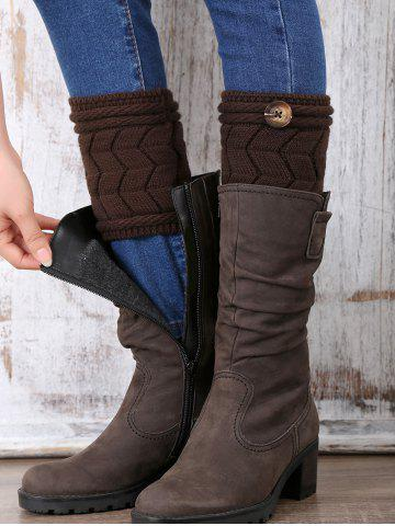 Trendy Casual Button Letter W Shape Knitted Boot Cuffs CHOCOLATE