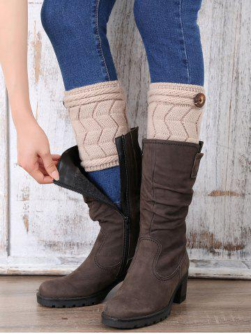 Buy Casual Button Letter W Shape Knitted Boot Cuffs
