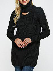 High Neck Hollow Out Loose-Fitting Sweater -