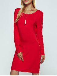 Solid Color Ruched Skinny Slimming Dress - RED XL