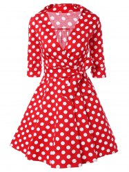Low Cut Polka Dot Swing Dress -