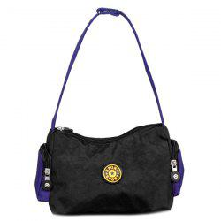 Zippers Polyester Color Splicing Shoulder Bag - BLACK