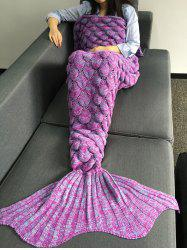 Crochet Knitting Fish Scales Design Mermaid Tail Style Blanket - LIGHT PURPLE