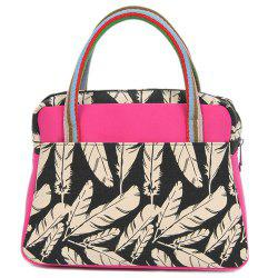 Color Block Striped Feather Pattern Tote Bag