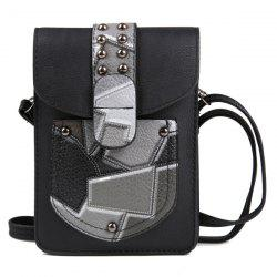 Color Splicing Geometric Pattern Metal Crossbody Bag -