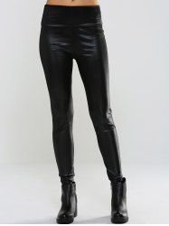Slimming Mid-Waist PU Leather Pants
