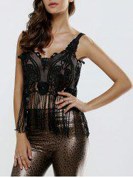 Fringed Crochet Openwork Lace Tank Top -