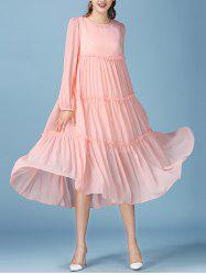 Fairy Lace Tank Dress with Long Sleeve Smock Flowy Dress - PINK S