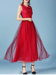 Retro Bowknot Mesh Lace Spliced Maxi Chiffon Dress -