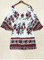Bohemian Print Backless Bell Sleeves Dress -