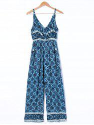 Ethnic Style Plunging Neck Jumpsuit -