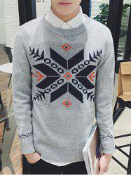 Zigzag Geometric Pattern Ribbed Long Sleeve Sweater