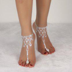 Rhinestone Teardrop Toe Ring Anklet -