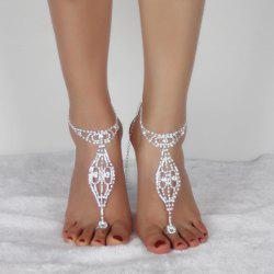 Geometric Rhinestoned Toe Ring Anklet - SILVER WHITE
