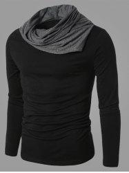 Color Splicing Cowl Neck Long Sleeve T-Shirt