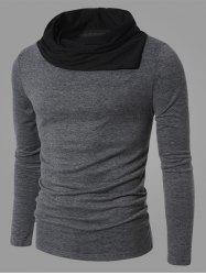 Color Splicing Cowl Neck Long Sleeve T-Shirt - GRAY