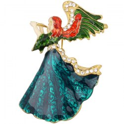 Rhinestone Resin Angel Brooch - BLACKISH GREEN