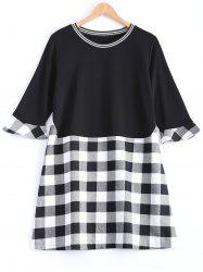 Plaid Flare Sleeve Long Tee -
