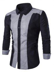 Gingham Splicing Turn-down Collar Long Sleeve Shirt -
