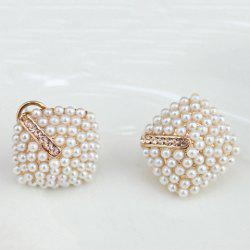 Faux Pearl Geometric Stud Earrings