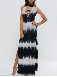 High Slit Tie-Dyed Hollow Out Maxi Dress -