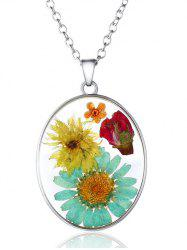 Oval Glass Dry Sunflower Pendant Necklace -