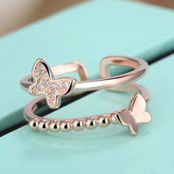 Rhinestone Butterfly Layered Cuff Ring