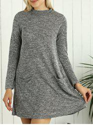 Heathered Long Sleeve Tunic Sweater Dress with Pocket - GRAY